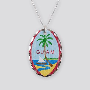 Guam Coat Of Arms Necklace Oval Charm