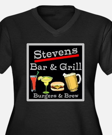 Personalized Bar and Grill Women's Plus Size V-Nec