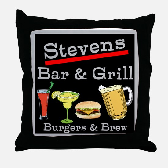Personalized Bar and Grill Throw Pillow