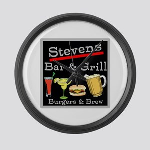Personalized Bar and Grill Large Wall Clock