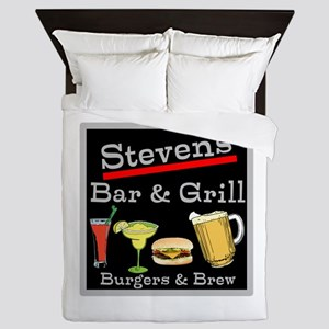 Personalized Bar and Grill Queen Duvet