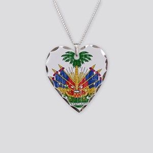Haiti Coat Of Arms Necklace Heart Charm