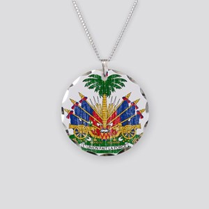 Haiti Coat Of Arms Necklace Circle Charm