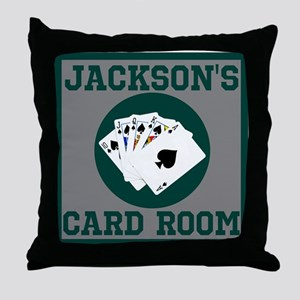 Personalized Card Room Throw Pillow