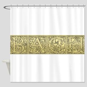 EtchedbachText Shower Curtain