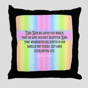 John 3:16 Rainbow Throw Pillow
