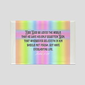 John 3:16 Rainbow Rectangle Magnet