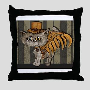 steampunk grey Mr Tipps Throw Pillow