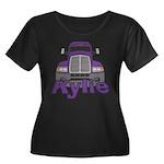 Trucker Kylie Women's Plus Size Scoop Neck Dark T-