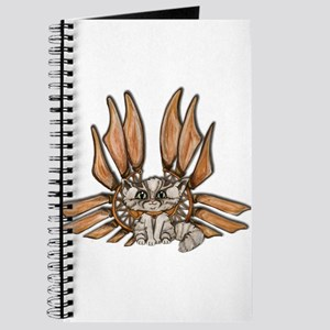 steampunk grey kitten Leather wings Journal
