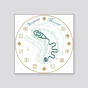"Serpent Mound Spiral Square Sticker 3"" x 3&qu"