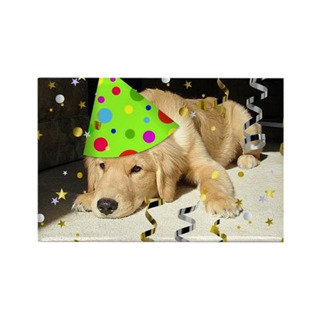 Birthday Party Golden Retriever Rectangle Magnet (