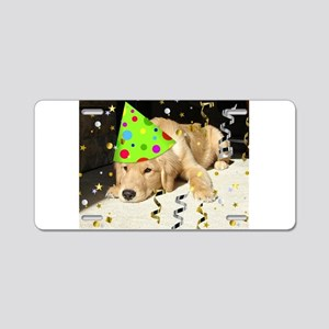 Birthday Party Golden Retriever Aluminum License P