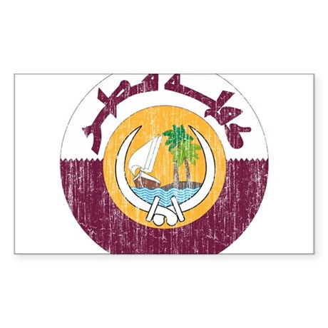 Qatar Coat Of Arms Sticker (Rectangle)