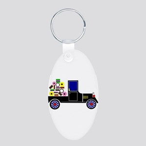 Virtual Cars Aluminum Oval Keychain