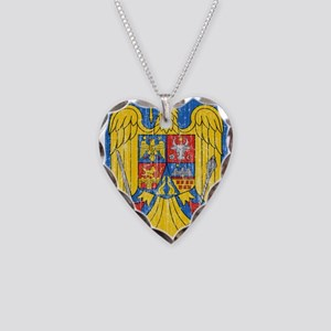Romania Coat Of Arms Necklace Heart Charm
