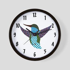 Blue Hummingbird Wall Clock