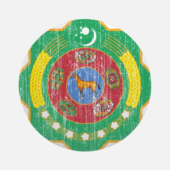 Turkmenistan Coat Of Arms Ornament (Round)