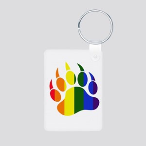 Gay Pride Paw Aluminum Photo Keychain