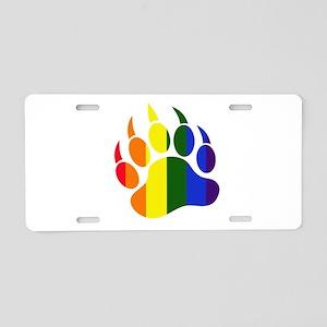 Gay Pride Paw Aluminum License Plate