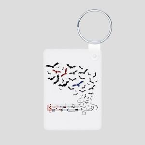 Bat Music Design Aluminum Photo Keychain