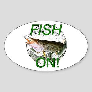 Musky fish on Sticker (Oval)