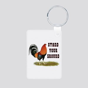 Stand Your Ground Rooster Aluminum Photo Keychain