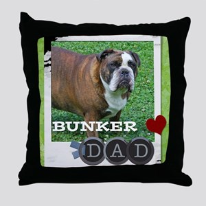 English bulldog and dad Throw Pillow