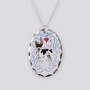 Rat Terrier Necklace Oval Charm