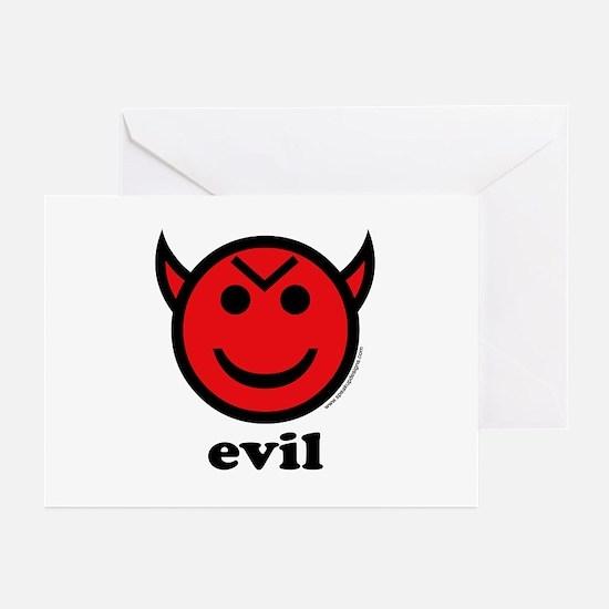 Evil Smiley Devil & Horns Greeting Cards (Package