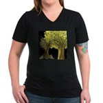 Marina's Fortune Tree Women's V-Neck Dark T-Shirt