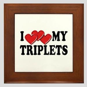 I Love Heart My Triplets Framed Tile