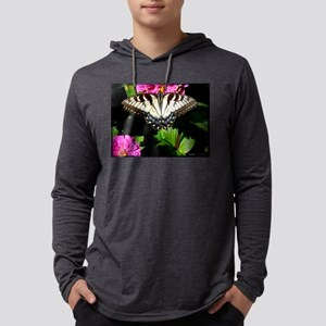 Swallowtail Butterfly and Zinnias Mens Hooded Shir