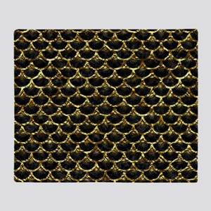 SCALES3 BLACK MARBLE & GOLD FOIL Throw Blanket