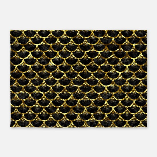 SCALES3 BLACK MARBLE & GOLD FOIL 5'x7'Area Rug