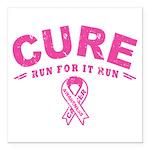 "Cure - Run For It Run Square Car Magnet 3"" x 3"""