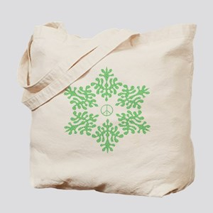 Snow Peace - Green Dots Tote Bag