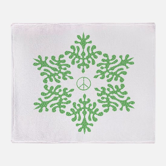 Snow Peace - Green Dots Throw Blanket