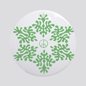 Snow Peace - Green Dots Ornament (Round)