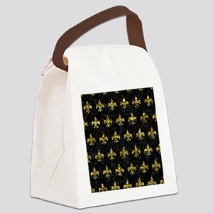 ROYAL1 BLACK MARBLE & GOLD FOIL ( Canvas Lunch Bag