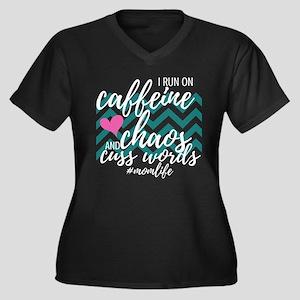 Caffeine Chaos Cuss Words Plus Size T-Shirt