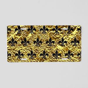 ROYAL1 BLACK MARBLE & GOLD Aluminum License Plate