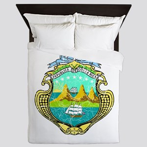 Costa Rica Coat Of Arms Queen Duvet