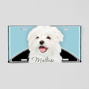 Cute Maltese Aluminum License Plate