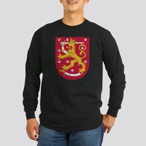 Finland Coat Of Arms Long Sleeve Dark T-Shirt