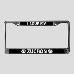 I Love My Zuchon License Plate Frame