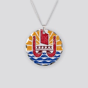French Polynesia Coat Of Arms Necklace Circle Char