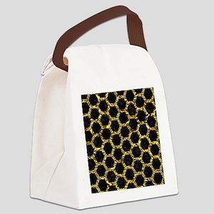 HEXAGON2 BLACK MARBLE & GOLD FOIL Canvas Lunch Bag