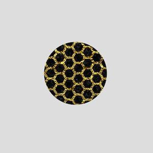 HEXAGON2 BLACK MARBLE & GOLD FOIL Mini Button