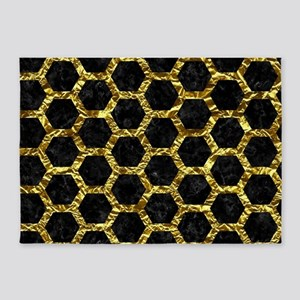 HEXAGON2 BLACK MARBLE & GOLD FOIL 5'x7'Area Rug